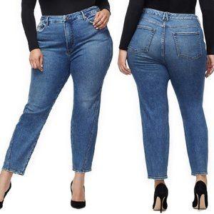 NEW Good American Twist Seam Straight Crop Jeans